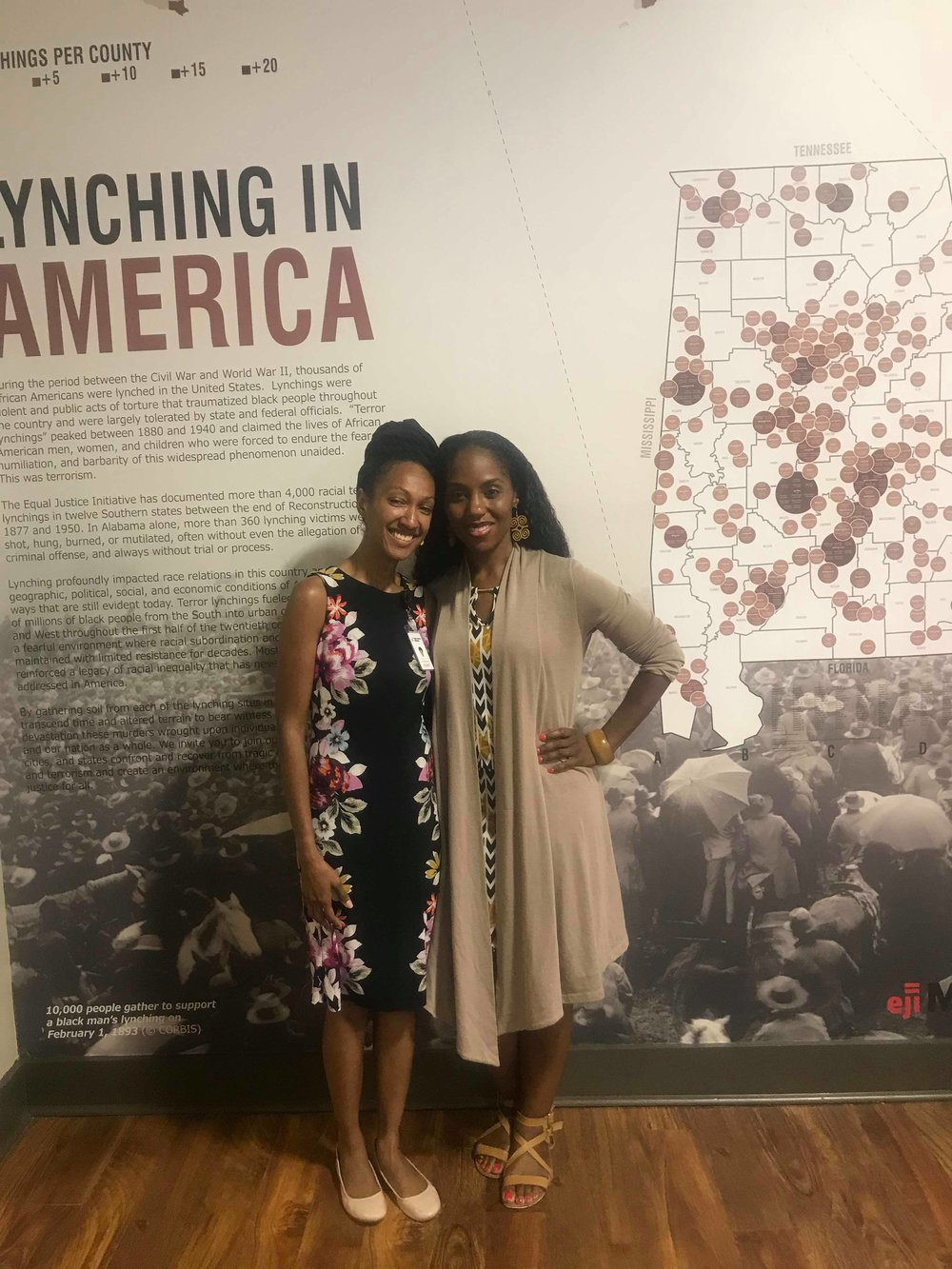 Ms. Gabrielle Daniels - A special thank you to Ms. Gabrielle Daniels (Racial Justice Fellow with the Equal Justice Initiative) for greeting No More Martyrs and participating in a video interview. She is pictured here with No More Martyrs Founder, Dr. Nadia Richardson.