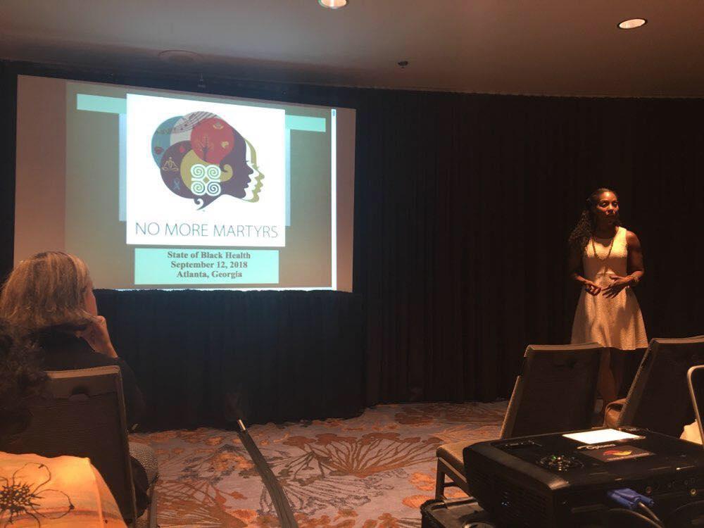 Dr. Nadia Richardson presenting on the State of Black Mental Health.