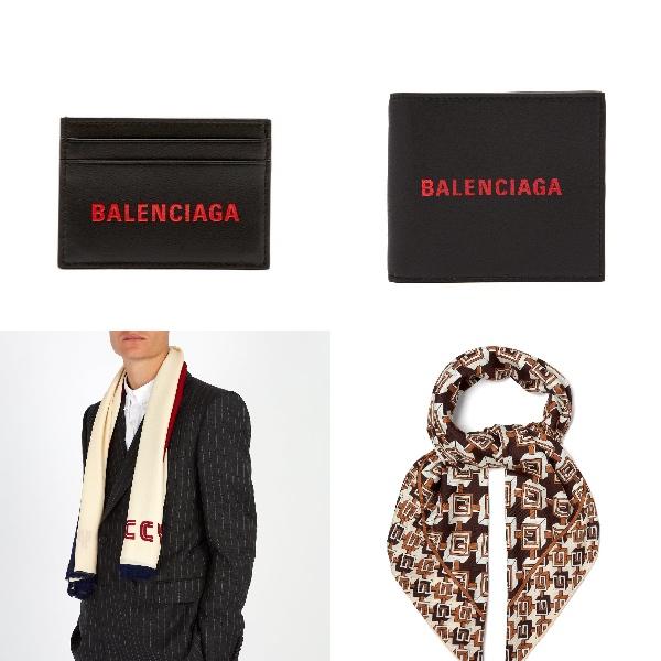 バレンシアガ・ロゴ財布、コインケースグッチのニットロゴスカーフ、Gモチーフシルクスカーフ  Photo:  matchesfashion.com