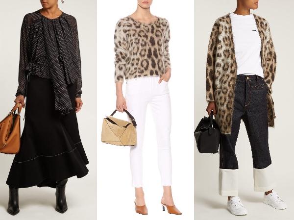 水玉ドット・ドレープ・バルーン袖 ブラウス( €990 ) Leopard ヒョウジャカード モヘア セーター( €690 )レオパード、オーバーフィットカーディガン( €1,200 )  Photo: Matchesfashion.com