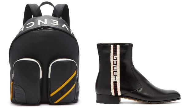 Photo:  Matchesfashion.com   ジバンシィ・MC3・レザーバックパック・リュック( €1,650 )ロゴストライプレザー チェルシー ブーツ( €980 )
