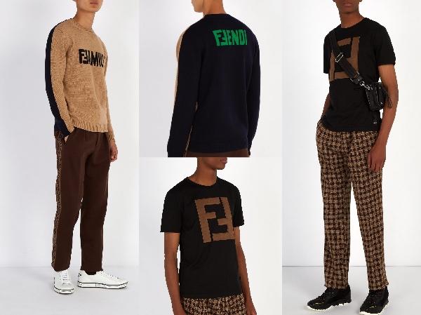 フェンディ・ ランウェイ ・ファミリーカラーブロックセーター  ランウェイ・チェック・パンツ  3D FF logo ・ ロゴ・Tシャツ   Photo: matchesfashion.com