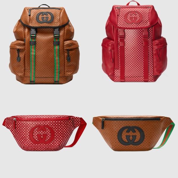 Photo: Gucci グッチ  Dapper Dan・GGパターン・レザーリュック  (茶色・赤)  グッチ☆Dapper Dan・GGパターン・レザーベルトバッグ
