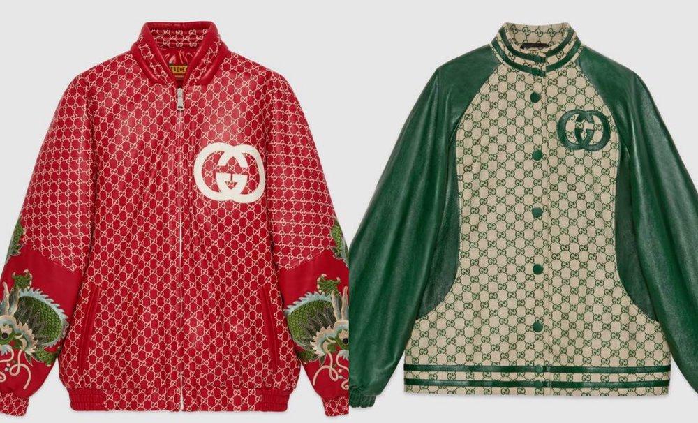 Photo: Gucci グッチ    Dapper Dan・GGパターン・ドラゴン刺繍レザー ジャケット   Dapper Dan・GGパターン・レザートリムジャケット
