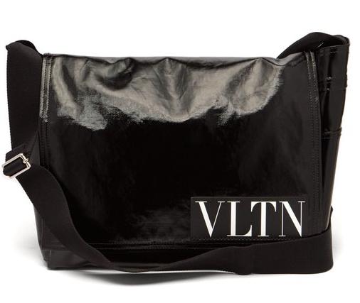 ヴァレンティノ・ VLTN・ロゴ・コートツイル ショルダーバッグ・黒   Photo: matchesfashion.com
