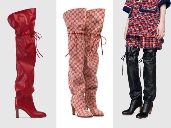 レザー•オーバー•ザ・ニーハイ・ブーツ  赤 と 黒 、 GGキャンバス オーバー・ザ・ニー・ブーツ   Photo: Gucci グッチ