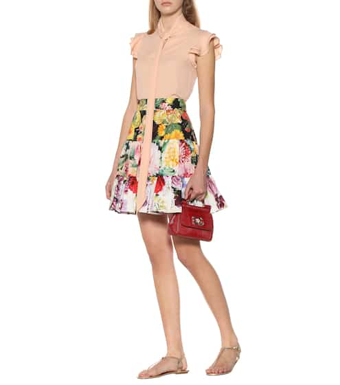 Photo: mytheresa  ドルチェ&ガッバーナ 花柄ブロック コットン ミニスカート