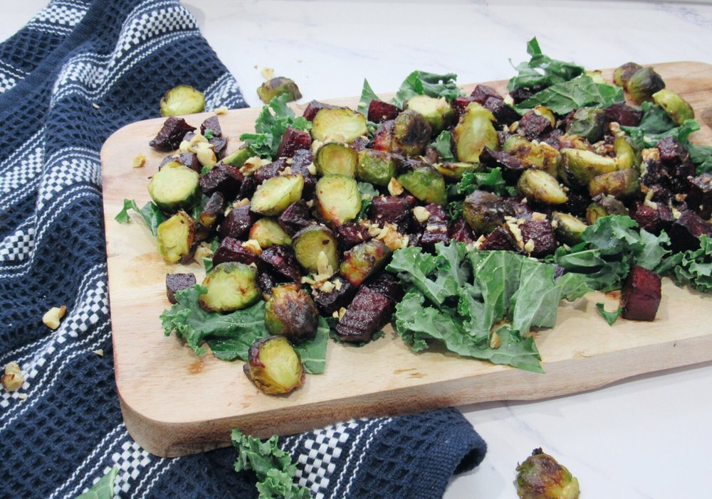 Roasted Beets and Brussel Sprouts Salad