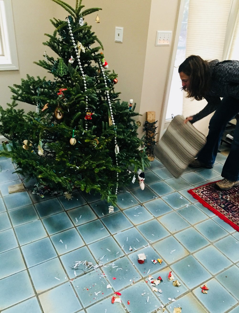 The tree just after the accident, with the brand new ornament in a million tiny pieces on the floor.
