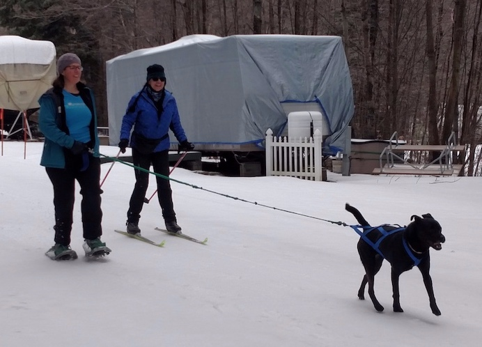 CiCi and Alix on their first Skijor lesson with Jane at Gunstock Mountain Resort