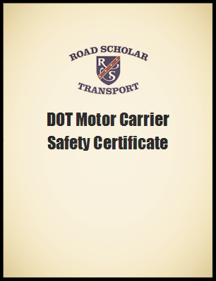 DOT Motor Carrier Safety Certificate
