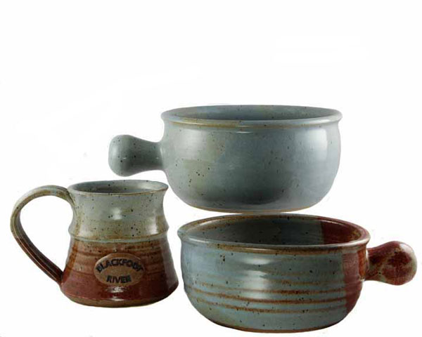 Antique Powder Blue and Eggshell Glazes on a Specialty Mug and Medium Sized Uni-handle Serving Bowls