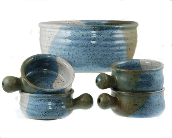 Gloss White Blue and Khaki Glazes on Large Bowl and 4 Individual Sized Uni-handle bowls