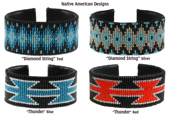 Native American Designs. Top: Diamond String - Teal; Diamond String - Silver; Bottom: Thunder - Blue; Thunder - Red.