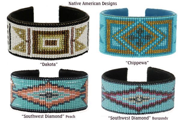 Native American Designs. Top: Dakota; Chippewa; Bottom: Southwest Diamond - Peach; Southwest Diamond - Burgundy.