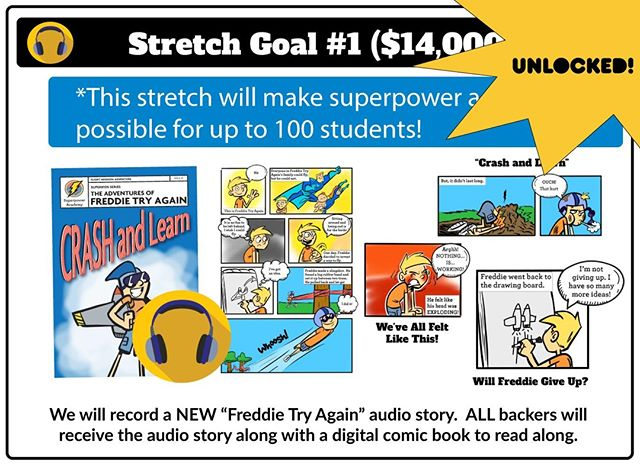 """💫You won't want to miss this!  We just hit our stretch goal, 🎉🎉🎉 so ALL backers will get  a """"Freddie Try Again-Crash and LEARN"""" 🚀 podcast and digital comic book absolutely FREE! 👊 Our Kickstarter campaign is coming to an end soon, so jump in today.⚡️✨⠀ .⠀ .⠀ Visit: buff.ly/2CwV5TR or click the link in our profile to learn more.⠀ .⠀ .⠀ #superpoweracademy #emotionalintelligence #craftbox #kickstarter #education  #socialandemotionallearning #mindfulness #parenting #homeschool #kidsubscriptionbox #kickstarterproject #subscriptionbox #kidactivities #kidcraftproject #braintoys #kickstarter #superherokids #indigogo"""