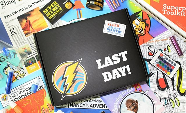 """Today is the LAST DAY!  We are just $327 away from hitting our final goal!  Give a gift. 🎁 Tell a friend. 📞 Send your child cool """"Secret Missions"""" and FREE superpower stuff by joining our Kickstarter community. ⚡️⭐️ Help us make kids everywhere super! ⠀ .⠀ Click the link in our profile to LEARN MORE!"""