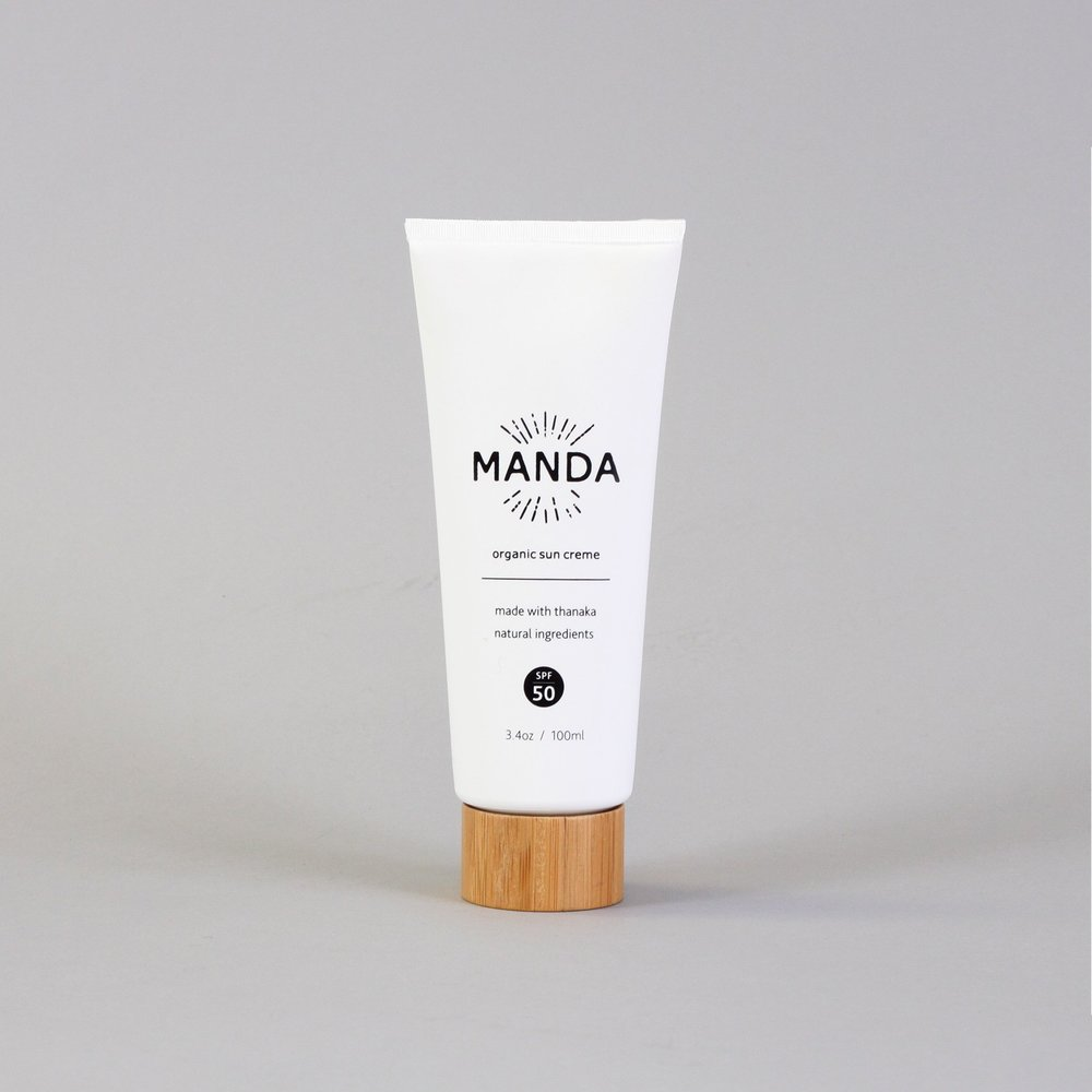 """Manda Sunscreen - $ 32.00""""MANDA Organic Sun Creme falls on the heels of our Organic Sun Paste, allowing for full body SPF 50 coverage, made possible by its smooth, creamy lotion texture""""Their products are the first to use Thanaka, natural sun protectant that preserves and beautifies the skin. With its anti-inflammatory, anti-aging and moisturizing properties. This ingredient is also sustainable and regenerative."""