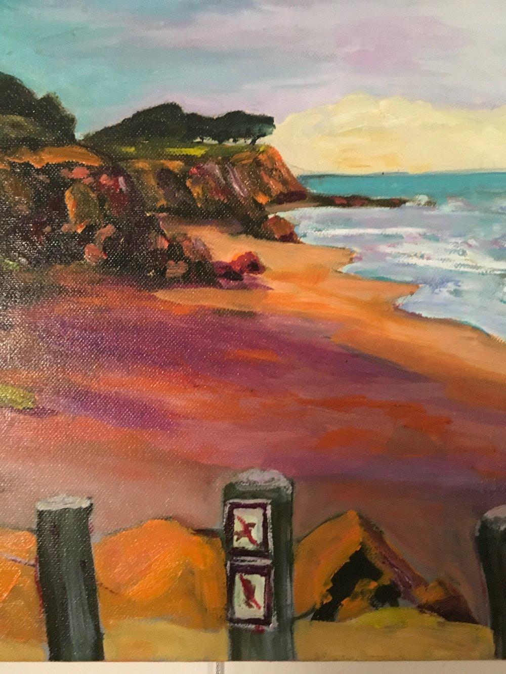"Technicolor Beach 14""x14"". $275.00"