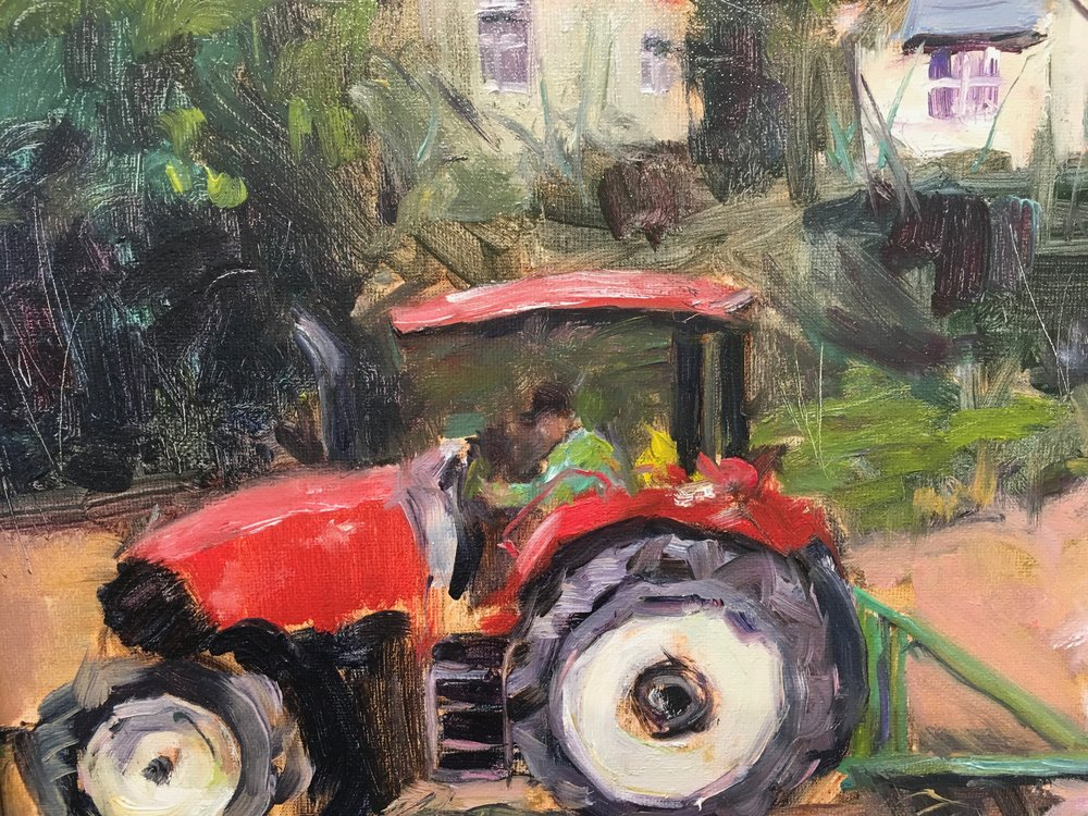 "Red Tractor. 11""x14""  $350.00"