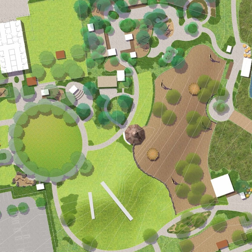 Master plan including zoogeographic trails with integrated play experiences for a new zoo