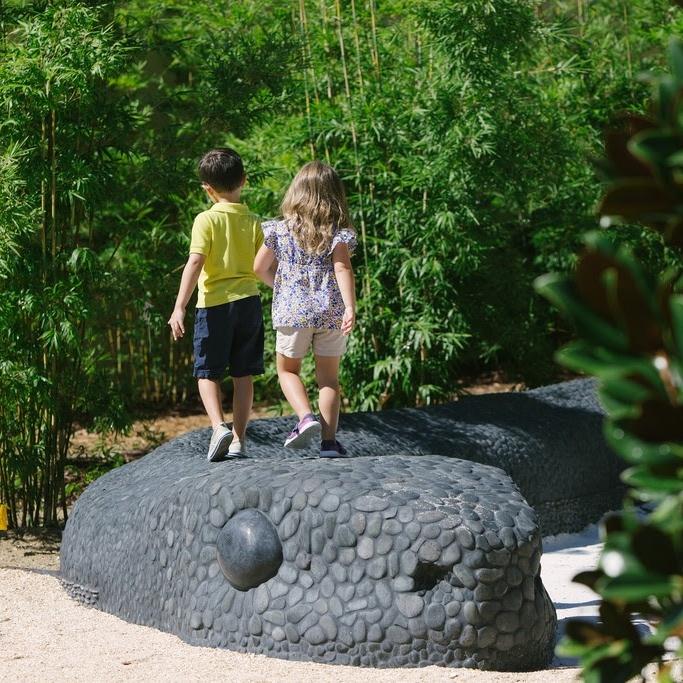 Bok Tower Garden's children's experiential play area showcasing Florida's unique ecology