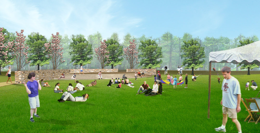Master plan for a residential campus featuring flexible outdoor spaces and planning for new building sites