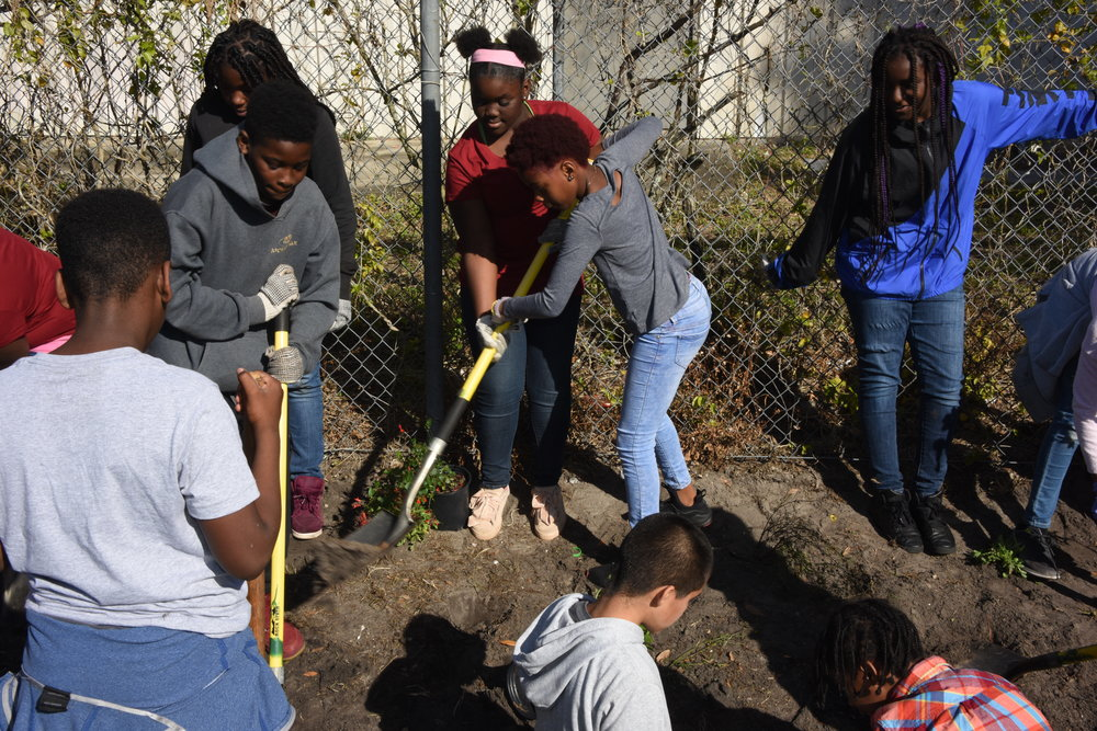 student volunteers at Ivey Lane planting.JPG