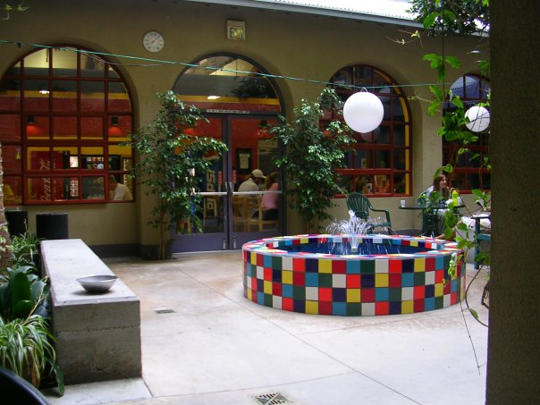 The courtyard of the hostel I stayed at in Santa Monica, CA for $34 a night