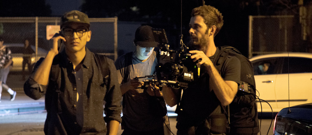 "Kevin David Lin (Kwan), Dinh Thai, Adriaan Kirchner (DP) on the set of ""MONDAY"""