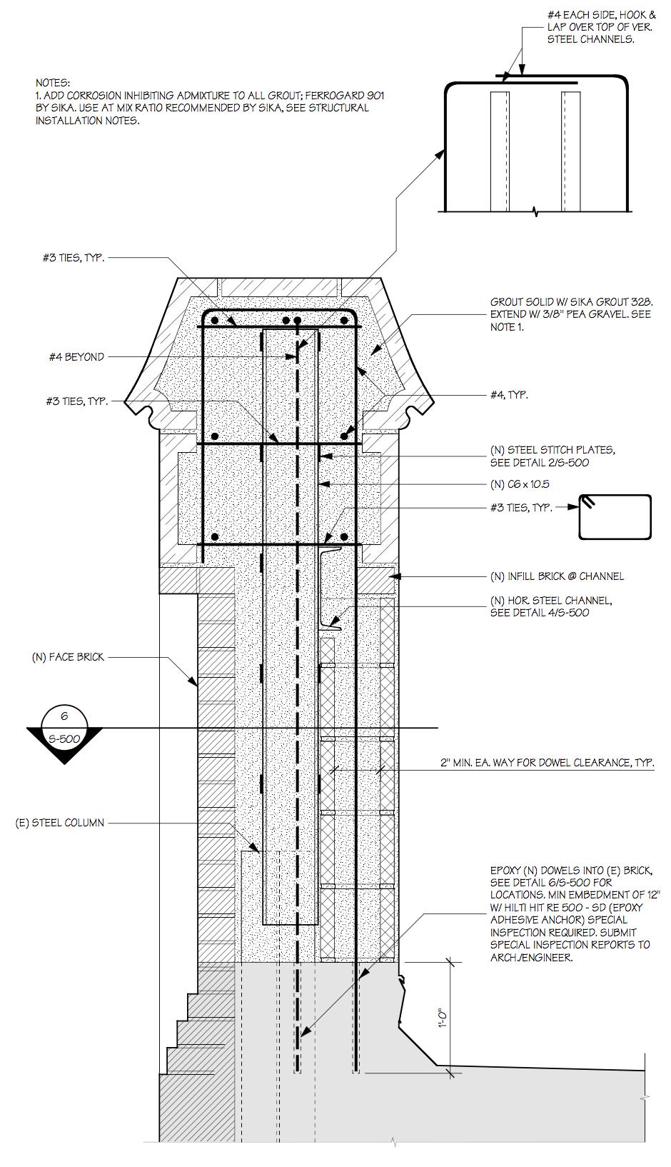 Parapet structural detail