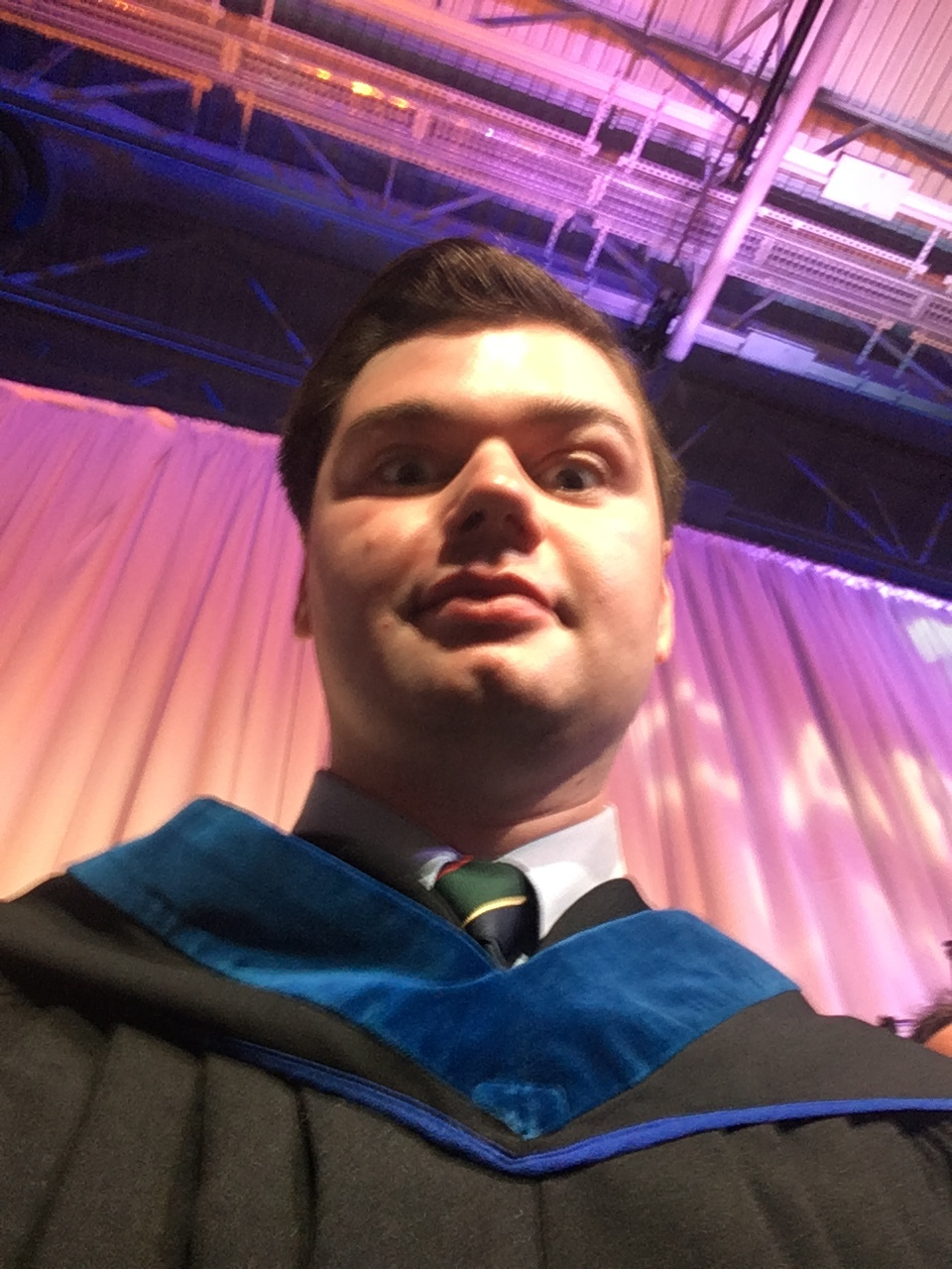 Andrew Willis on stage for the 2017 Capilano University convocation ceremony.