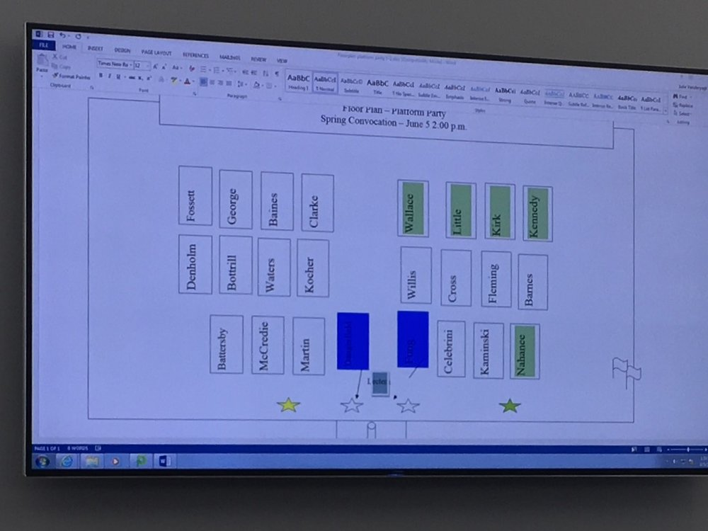 Floor plan in the green room for one of the 2017 Capilano University Convocation Ceremonies.