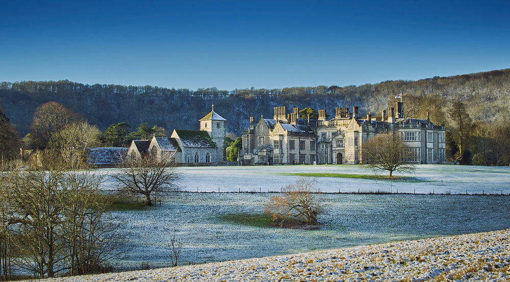 Wiston House in snow