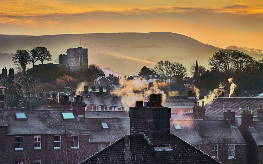 Lewes Castle, frosty morning