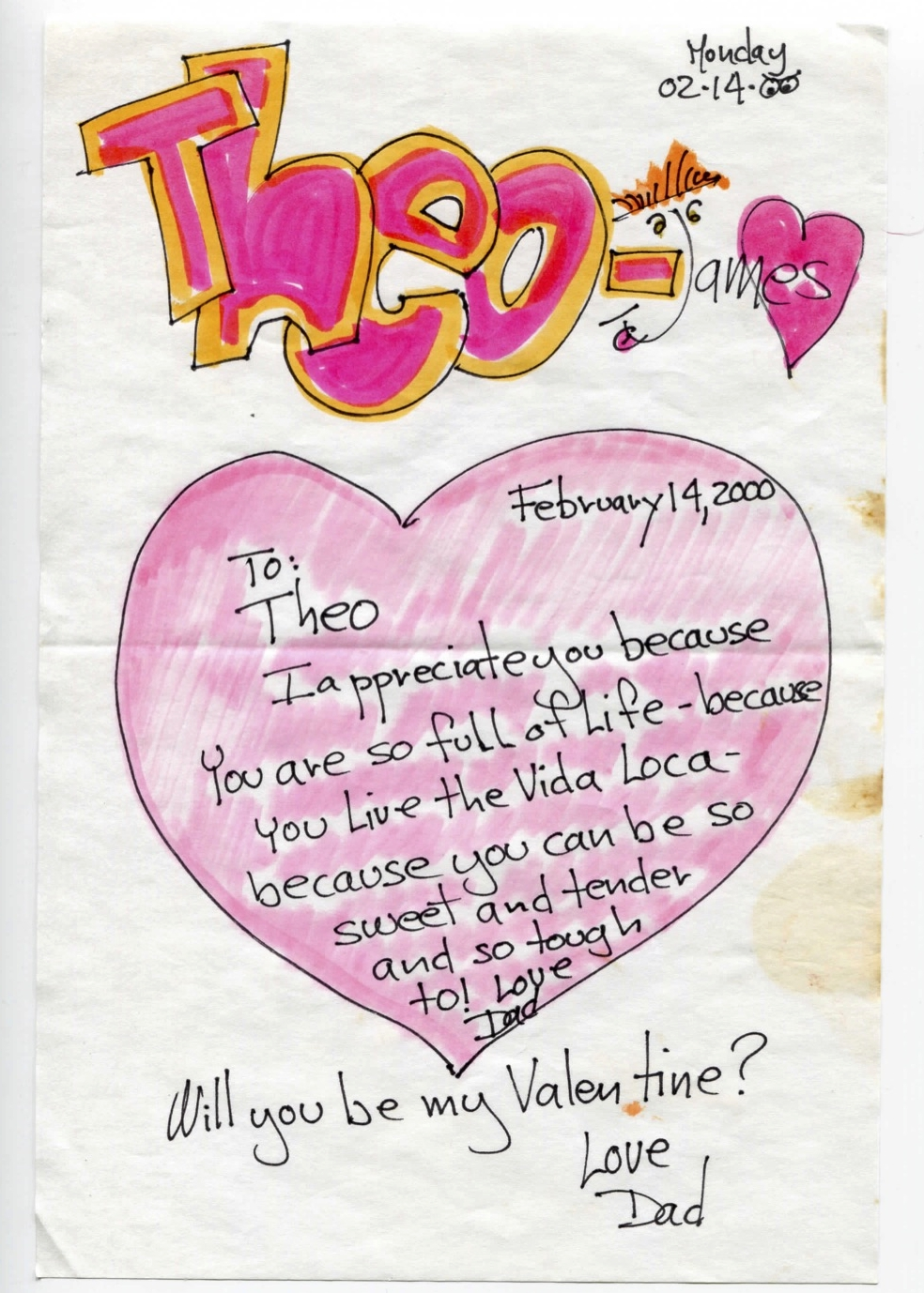 To: Theo  I appreciate you because you are so full of life - because you live the Vida Loca - because you can be so sweet and tender and so tough too! Love, dad  Will you be my Valentine?