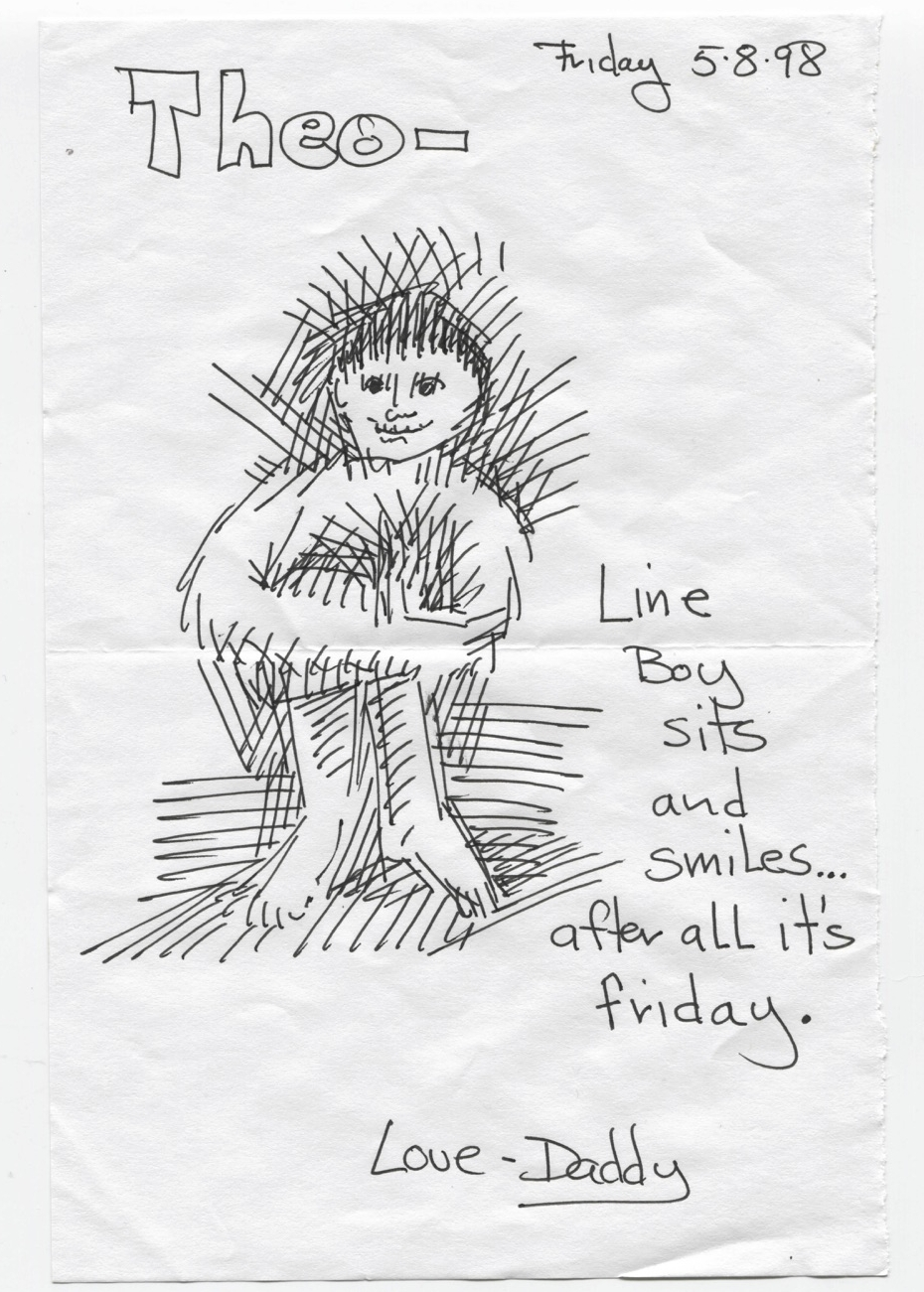 Line boy sits and smiles... after all it's Friday.