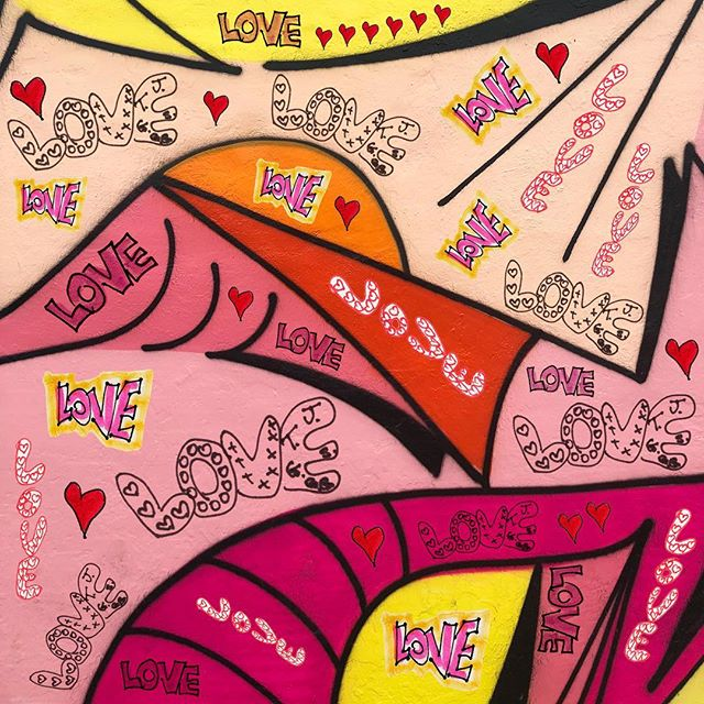"""""""There is no doubt⠀ that if I shout⠀ one thing⠀ in my whole life.⠀ One word that means⠀ all things it seems⠀ to say⠀ to end all strife.⠀ That word?⠀ LOVE""""⠀ ⠀ (Note from 5/8/96 + mural from @wynwoodwallsofficial + LOVE from throughout our collection)  #ValentinesDay #FoldedWisdom"""