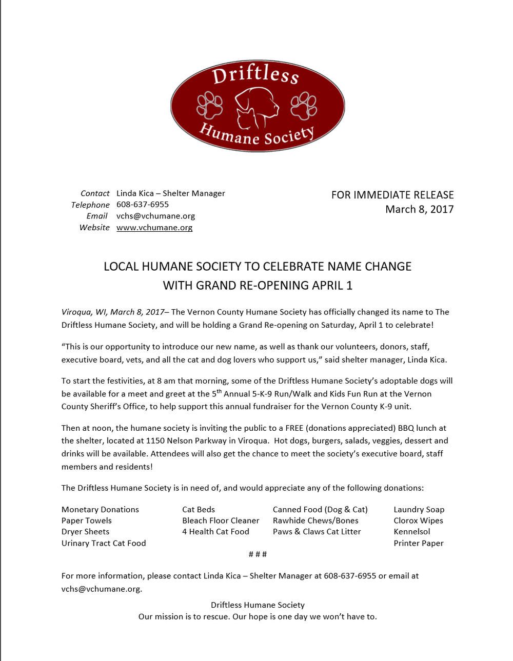 Press Release Driftless Humane Society