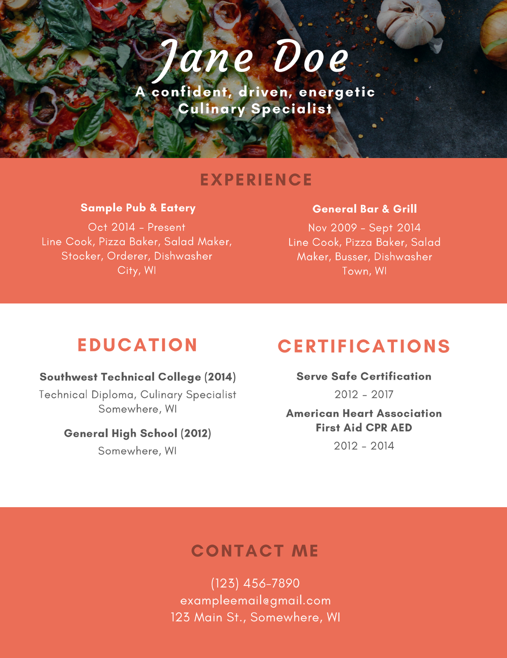 Resume Culinary Specialist