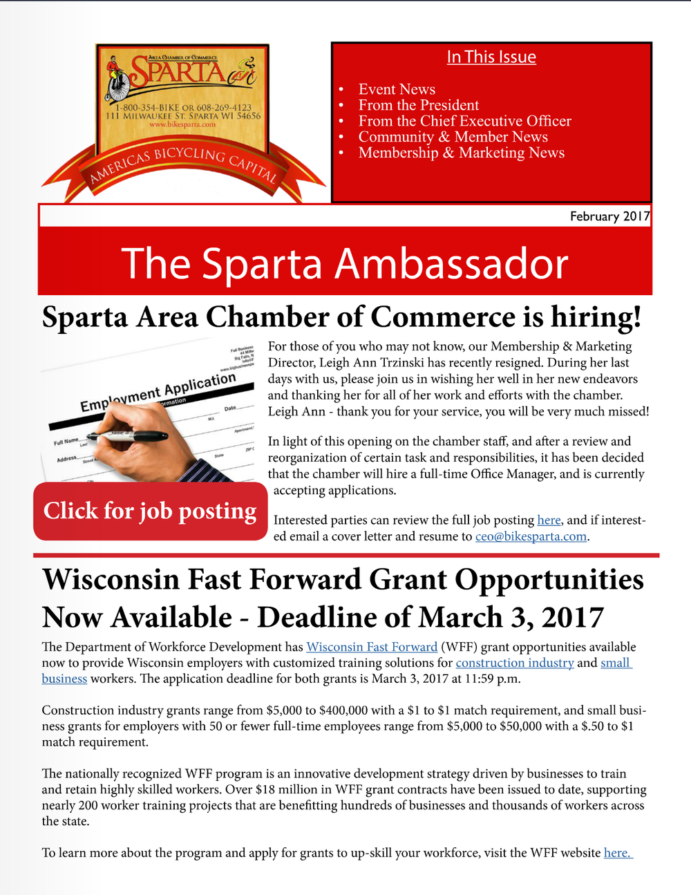 Digital Newsletter Sparta Area Chamber of Commerce