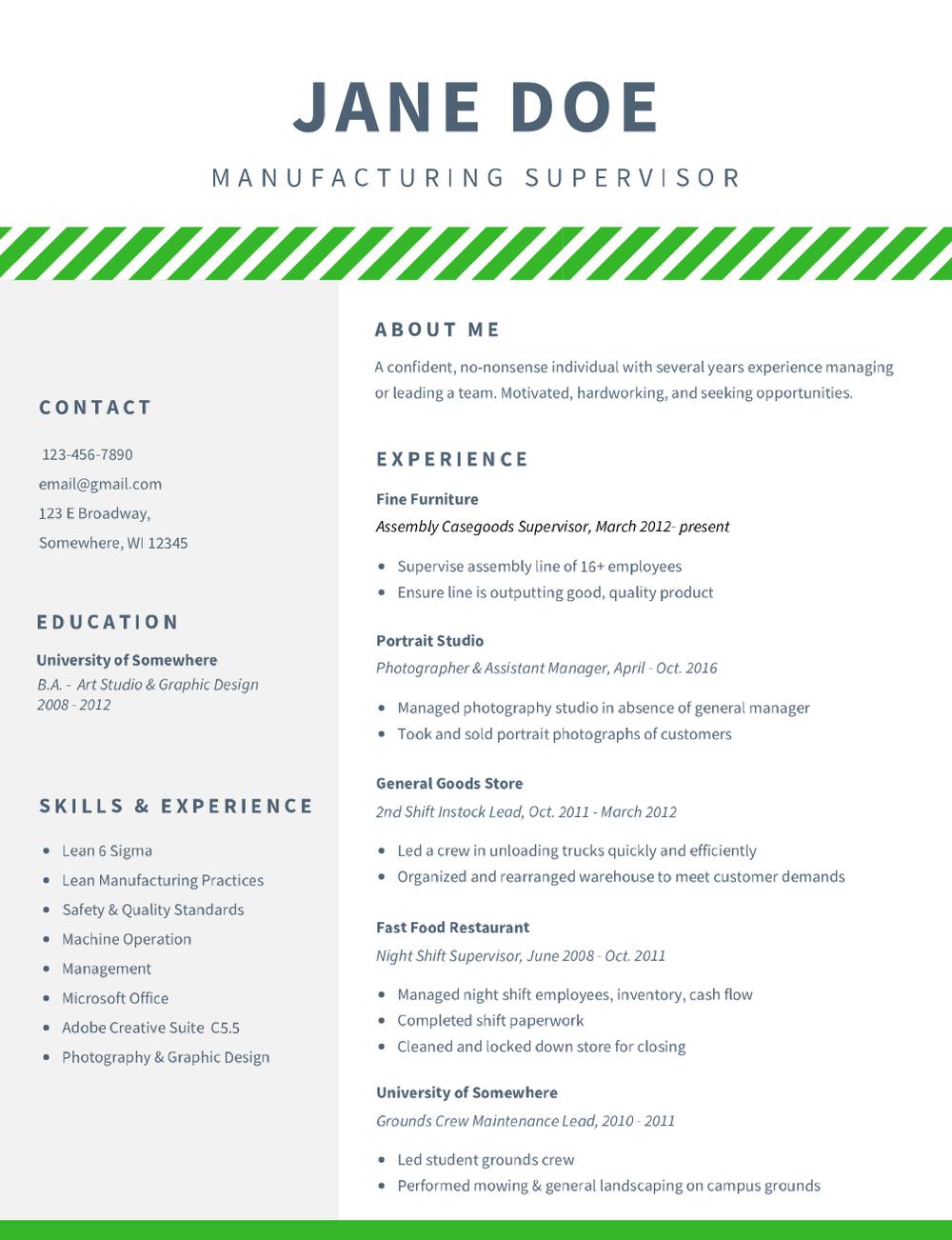 Resume Manufacturing Supervisor
