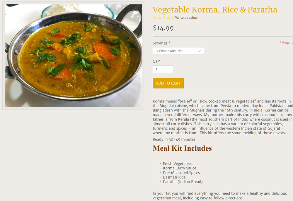 Product Description Indian Meal Kit