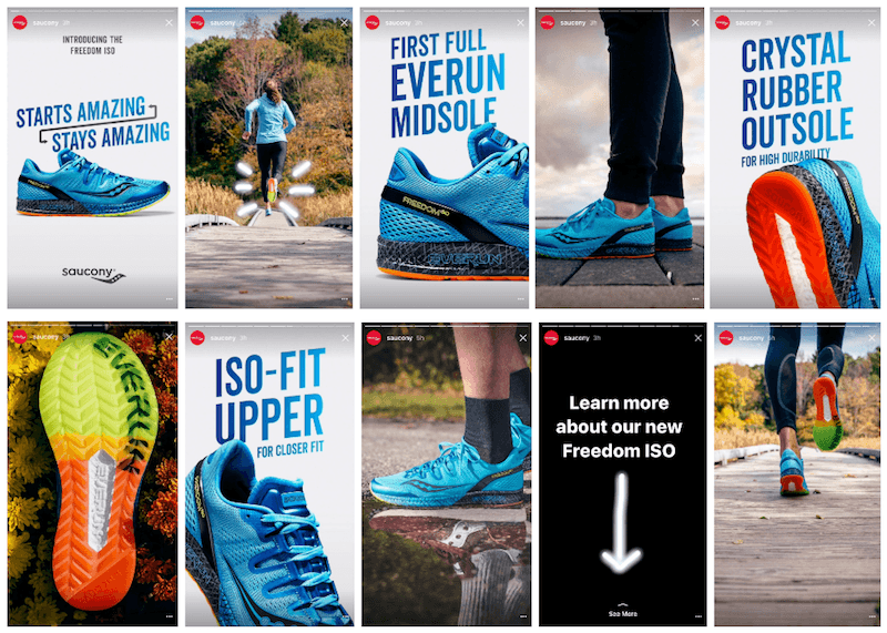 An example of how Saucony has created a 10-panel story for new product promotion. Photo from Instapage.com