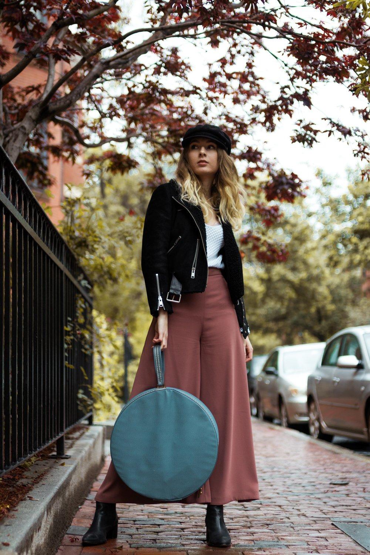 Leather Biker: AllSaints Trousers: Top Shop Hat: Brixton Traveling Bag: Vintage