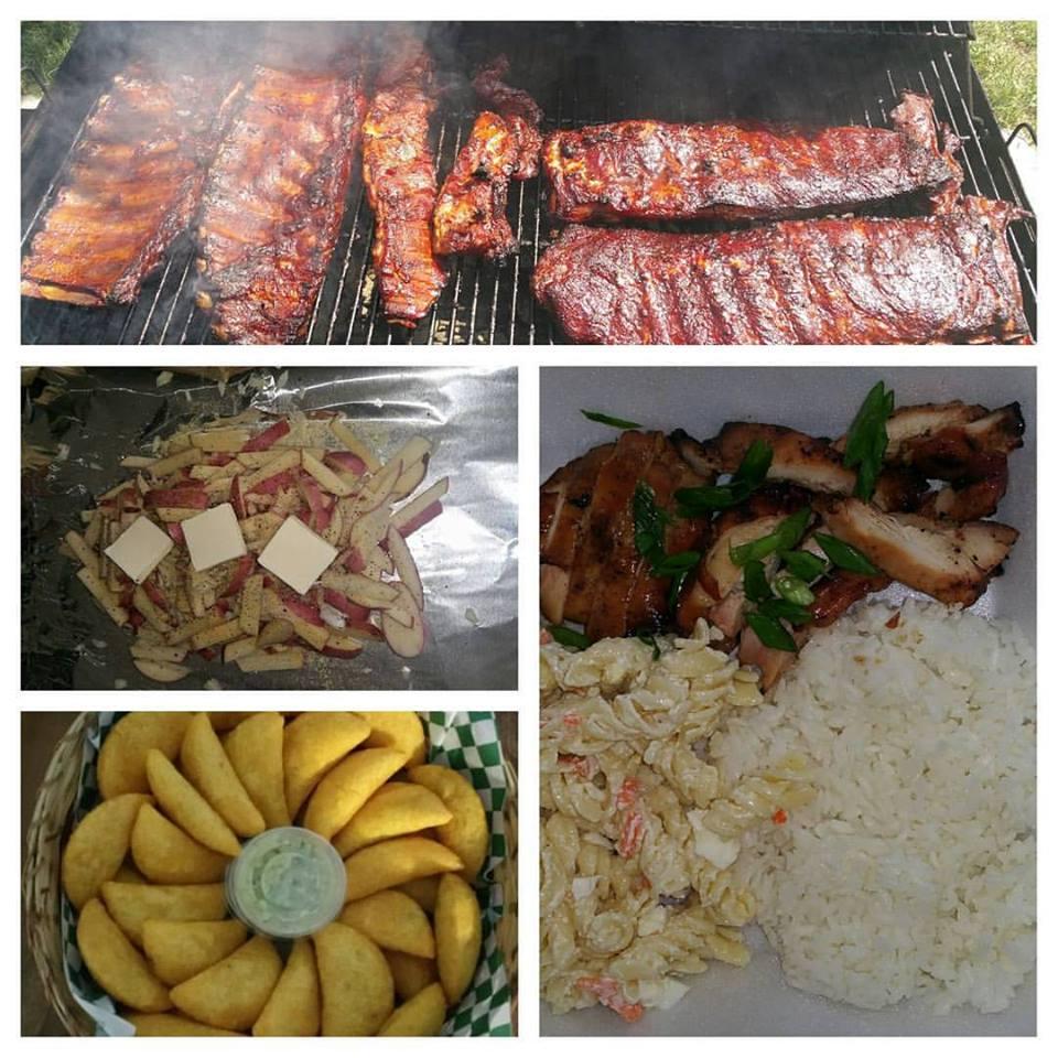Bbq ribs, half chickens, teriaki thighs, wings, potato fries, Mac salad.jpg