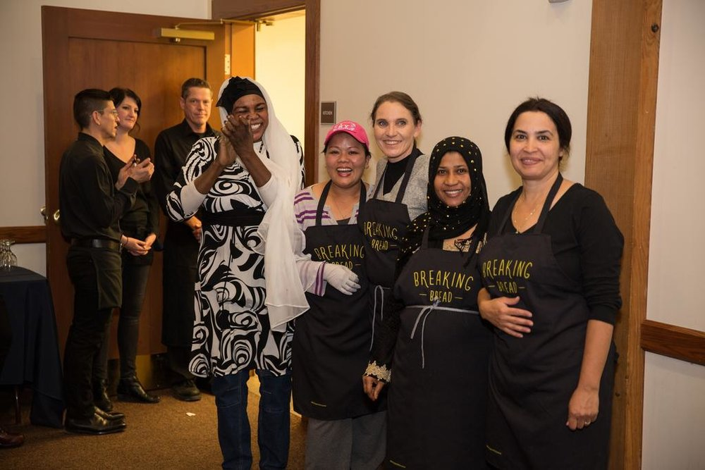 From left to right, Chefs Kaltum, Haymar, Michaela, Najati and Mayada at International Rescue Committee-SLC Breaking Bread 2017 benefit celebration after serving over 250 appetizers, entrees and desserts. All chefs are entrepreneurs of Spice Kitchen Incubator. Photo: Brent Uberty/BW Productions