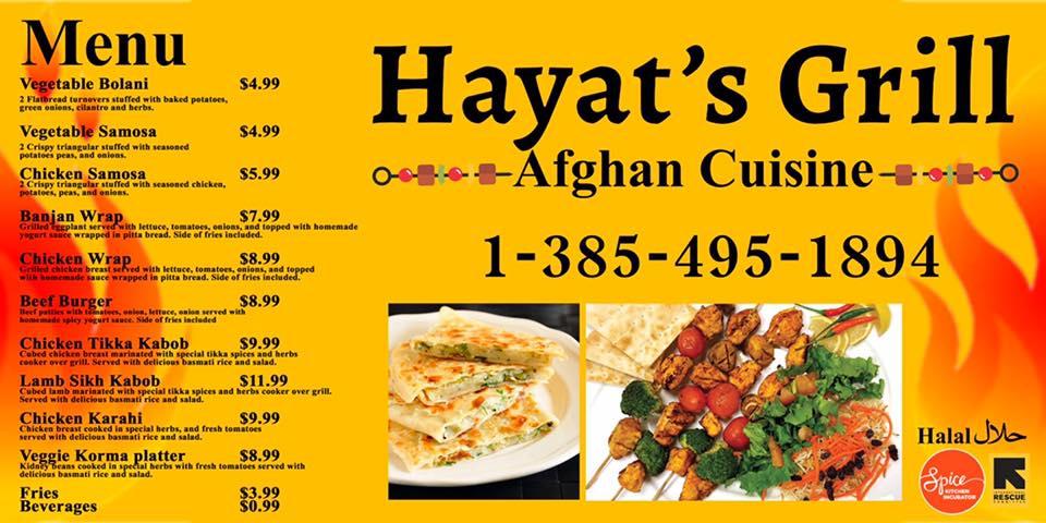 Hayat's Grill new food truck menu.