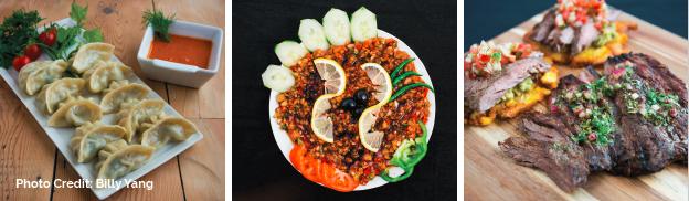 Foods prepared by Spice Kitchen Entrepreneurs.