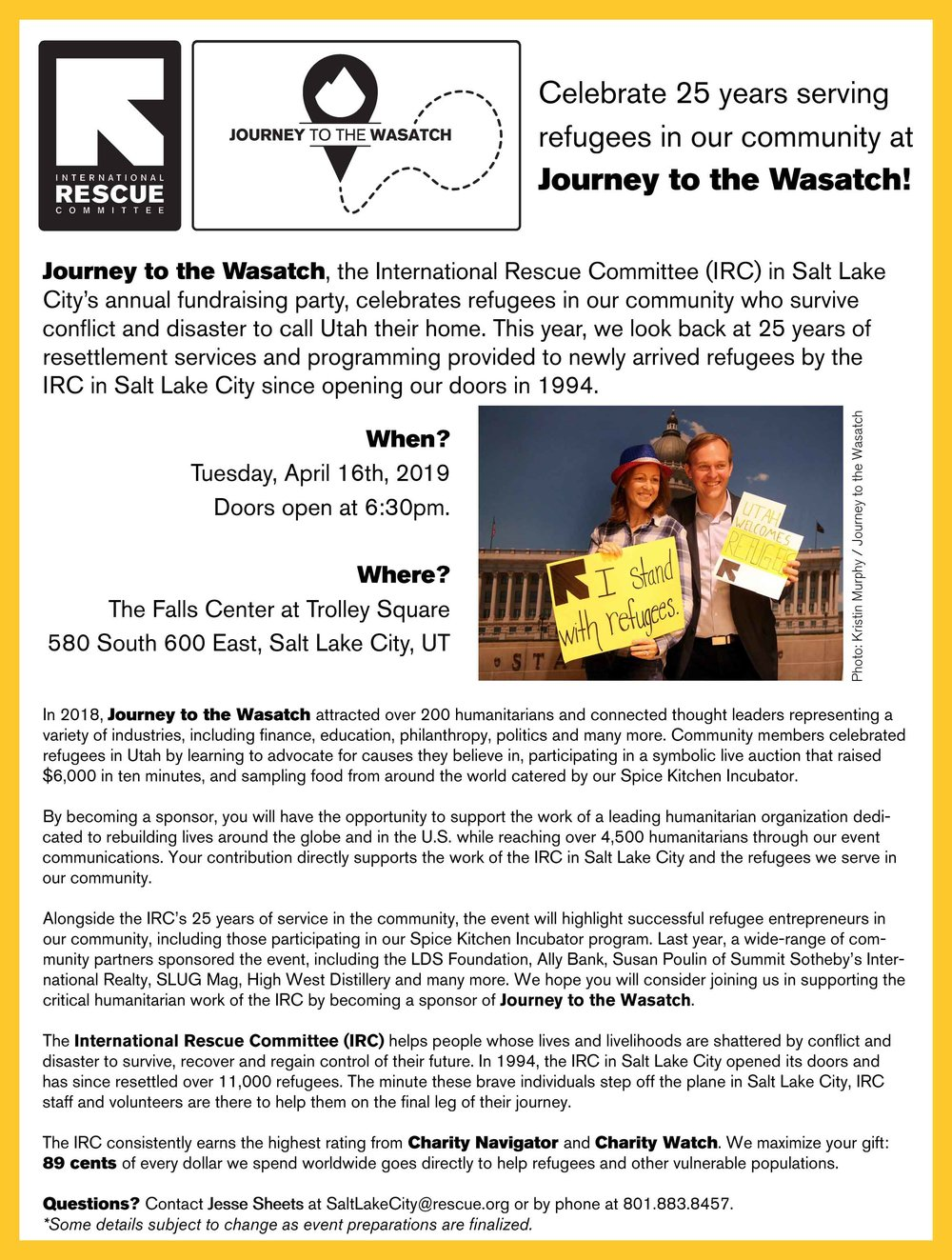 IRC-SLC Journey to the Wasatch 2019 - Sponsorship Opportunities - Page 1